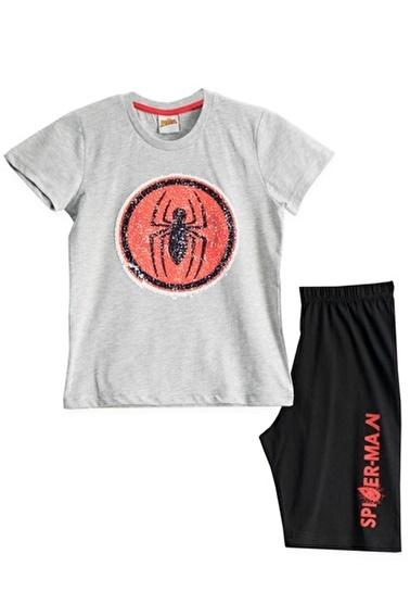 Spider-Man Spiderman Lisanslı Mavi Erkek Çocuk Bermuda Takımı Gri